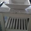 Lavatorio de apoyo de loza blanca cuadrado