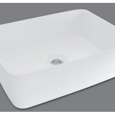 Lavatorio de apoyo de loza blanca rectangular