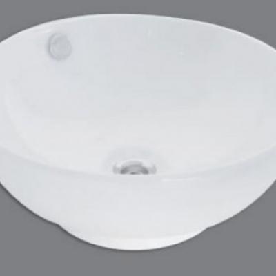 Lavatorio de apoyo de loza blanco redonda con desborde