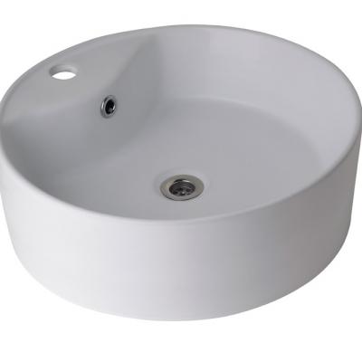 Lavatorio de apoyo de loza blanca circular monocomando