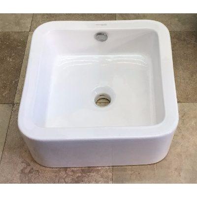 Lavatorio de apoyo de loza blanca cuadrada gruesa