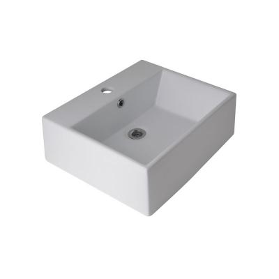 Lavatorio de apoyo de loza blanca cuadrado monocomando
